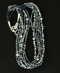 Peacock Blue & Gray Pearl 6-Strand Necklace with Blue Crystal, Fire Polished Glass and Sterling Silver