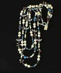 Cultured Pearl 3-Strand Necklace with Crystal, Czech & Fire Polished Glass, and Sterling Silver Charms, Beads & Toggle Clasp