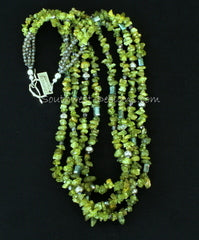 Peridot Chip 4-Strand Necklace with Crystal Rectangles, Fire Polished Glass Ovals and Sterling Silver