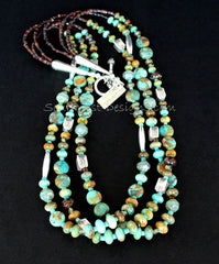 PIlot Mountain Turquoise 3-Strand Rondelle Bead Necklace with Turquoise Coins, Czech Glass, Pen Shell Heishi & Sterling