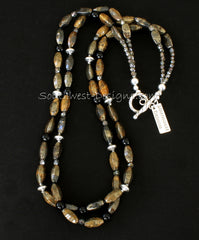 Pyrite Faceted Oval 2-Strand Necklace with Onyx Rounds, Fire Polished Glass and Sterling Silver