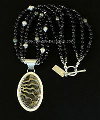 Pyritized Ammonite and Sterling Silver Pendant with 3 Strands of Smoky Quartz and Sterling