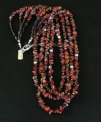 Rainbow Brecciated Jasper Chip 4 Strand Necklace with Czech Glass and Sterling Silver