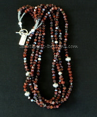 Rainbow Brecciated Jasper Cube 4-Strand Necklace with Sterling Silver