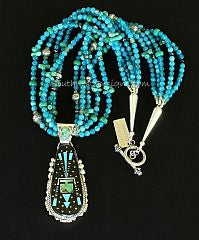 Ray Jack Inlaid Gemstone and Sterling Silver Pendant with 4 Strands of Blue Apatite, Turquoise & Sterling