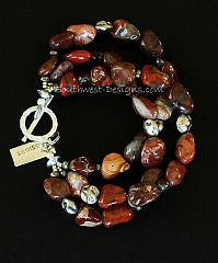Red Agate Nugget 3-Strand Bracelet with Czech Glass, Pyrite and Sterling Silver