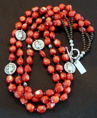 Bamboo Coral Nugget 3-Strand Necklace with Hill Tribe Silver Elephant Beads