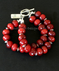 Red Jade Rondelle Bead 2-Strand Bracelet with Sterling Silver Discs, Round and Toggle Clasp