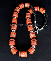 Red Jasper Rondelle Bead Necklace with Black Onyx Rounds and Sterling Silver