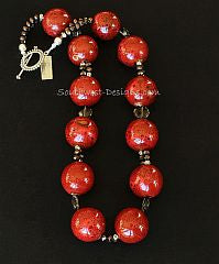 Red Porcelain Round Bead Necklace with Smoky Quartz, Faceted Crystal and Sterling Silver