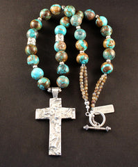 Sterling Silver and Reticulated Silver Cross with Kingman Boulder Turquoise and Sterling