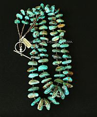 Royston Turquoise Large Nugget 2-Strand Necklace with Olive Shell Heishi and Sterling Silver
