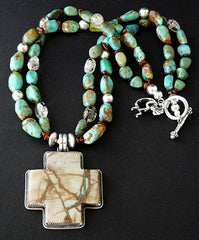 Buffalo Dancer Royston Ribbon Turquoise & Sterling Silver Necklace with Kingman Turquoise, Crackled Quartz, Amber & Sterling