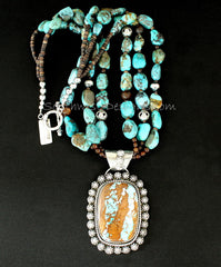 Royston Ribbon Turquoise and Sterling Silver 29-Concho Button Pendant with 3 Strands of Turquoise, Amber Quartz, Black Agate & Sterling