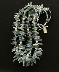 Silver Crystal Spike 2-Strand Necklace with Blue-Gray Seed Beads and Sterling Silver