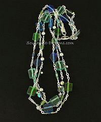 3-Strand Silver Plate Cable Chain Necklace with Indonesian Glass and Sterling Silver Beads, Charms and Toggle Clasp