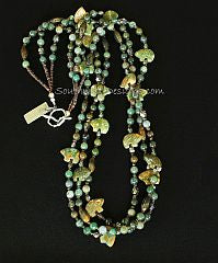 Sinkiang Jade Rounds 3 Strand with Unakite Bear Amulets, Pyrite and Sterling Silver