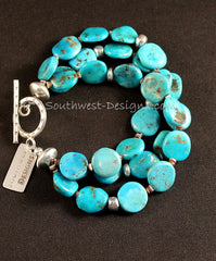 3-Strand Sleeping Beauty Turquoise Coin Bead Necklace with Sterling Silver