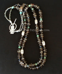 Smoky Quartz Faceted Rondelle Bead 2 Strand Necklace with Crystal, Aventurine and Sterling Silver