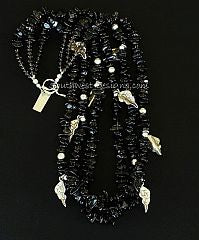 Smoky Quartz Chip 3-Strand Necklace with Sterling Silver Leaf Charms, Beads and Toggle Clasp