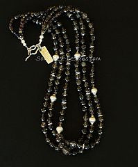 Smoky Quartz Faceted Rounds 3-Strand Necklace with Czech Nailheads and Sterling Silver