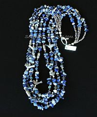 Sodalite Chip 4-Strand Necklace with Picasso Marble Songbirds, Dumortierite, Iolite, Aventurine and Sterling Silver