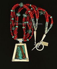 Sonora Sunset and Sterling Silver Pendant with 5 Strands of Bamboo Coral, Hubei Turquoise, Aqua Glass Saucers and Sterling