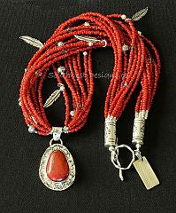 Sonora Sunset & Sterling Silver Pendant with Antique Pote Beads and Sterling