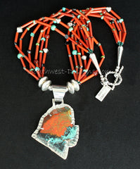 Sonora Sunset and Sterling Silver Post Set Pendant with 6 Strands of Antique White Heart Beads, Mixed Gemstones and Sterling