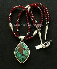Sonora Sunset and Sterling Silver Pendant with 2 Strands of Carnelian Rounds, Fire Polished Glass and Sterling Silver