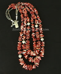 Spiny Oyster Shell Long Chip 3-Strand Necklace with Carnelian, Fire Polished Glass and Sterling Silver