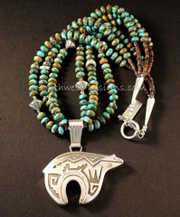 Richard Singer Sterling Silver Navajo Bear with 3 Strands of Kingman Turquoise Rondelles and Sterling