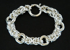 Sterling Silver Byzantine Rose Chain Bracelet with 18mm Sterling Spring Ring Clasp