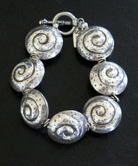 Sterling Silver 7-Piece Coiled Shell Bead Bracelet