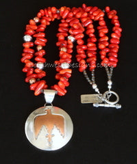 48mm Sterling Silver and Copper Thunderbird Pendant with 2 Strands of Bamboo Coral Stick, Copper & Sterling