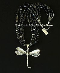 Sterling Silver Dragonfly Pendant with 4 Strands of Hypersthene and Sterling