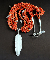 Sterling Silver Feather Pendant with 4 Strands of Italian Coral Cupolini, Carnelian Rounds, and Sterling Silver Feather Charms