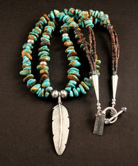 Sterling Silver Feather Pendant with Turquoise Nuggets, Pen Shell Heishi and Sterling