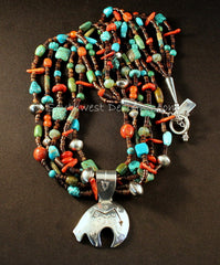Sterling Silver Navajo Bear with 5 Strands of Shell Heishi, Turquoise, Coral, Czech Glass and Sterling