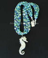 Sterling Silver Seahorse Pendant with 5 Strands of Indonesian Glass & Sterling