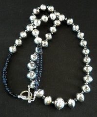 Bench-Made Sterling Silver Graduated Bead Necklace with Vintage Czech Nailheads