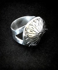 Sterling Silver Button Cover Ring with Graduated, V-Notched Sterling Silver Band