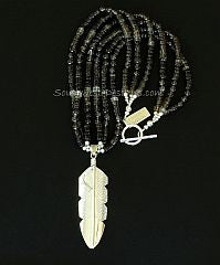 Chris Charley Sterling Silver Feather Pendant with 3 Strands of Smoky Quartz and Sterling