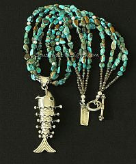 Sterling Silver Fish Pendant with 4 Strands of Turquoise Nuggets, Czech Glass and Sterling Silver