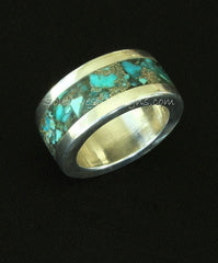 Rolled Sterling Silver Channel Ring with Inlaid Turquoise Chip