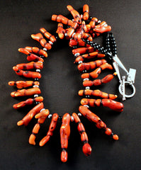 Striped Bamboo Coral Spike Necklace with Onyx Rounds and Sterling Silver