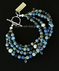Multi-Hued Sunset Dumortierite Rounds with Tanzanite, Blue Crystal Daggers & Sterling Silver