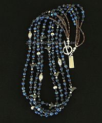Sunset Dumortierite Rounds 4-Strand Necklace with Black Clay Bird Amulets and Sterling Silver