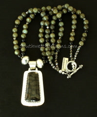 Toredo Petrified Wood and Sterling Silver Pendant with 2 Strands of Green Labradorite Rounds and Sterling