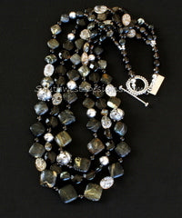 Tortoise Turquoise Diamonds 3 Strand Necklace with Crystal Quartz, Smoky Quartz & Ornate Sterling Silver